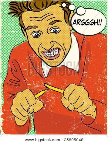 6 zorniger Mann Comic-Buch Stil