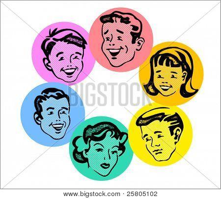 conjunto de caras familiares retro