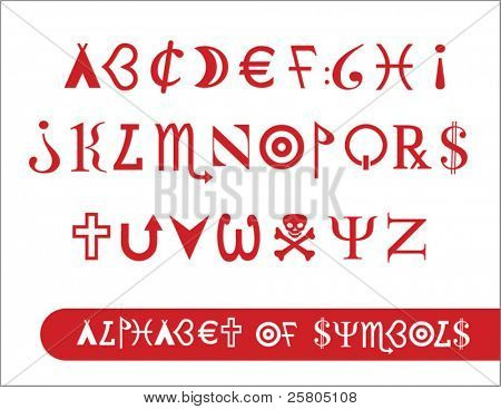 alphabet made from various symbols