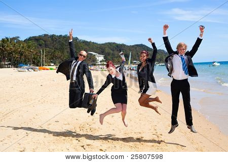 4 Business People Jumping