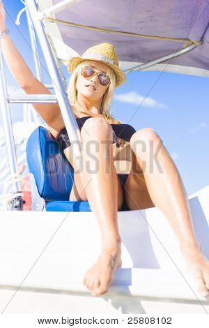 Beautiful Blond Female Tourist On Sightseeing Tour