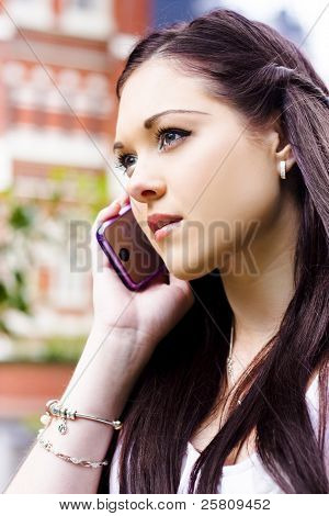 Beautiful Business Woman On Smart Mobile Phone