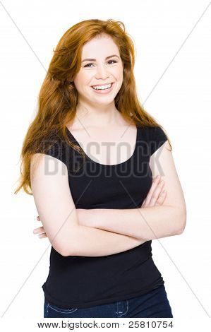 Isolated Happy Young Woman Smiling On White