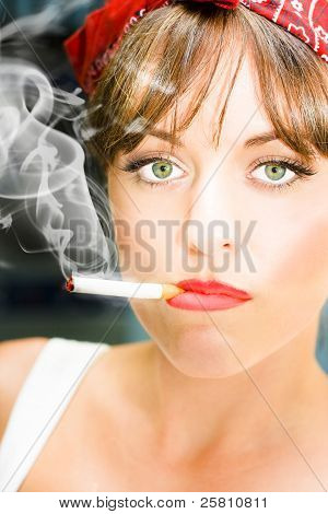 Unhappy Woman Smoking Cigarette