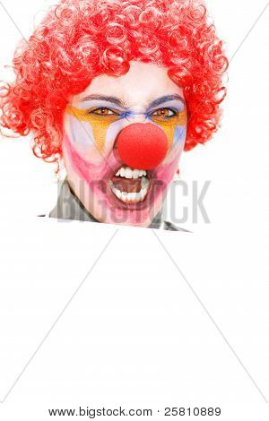 Angry Clown Holding Blank Sign
