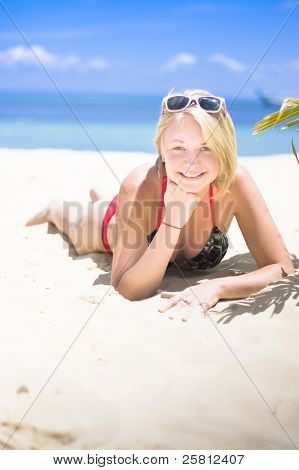 Woman On A Happy And Relaxing Holiday Break