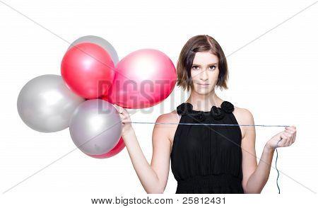 Elegant Woman Holding Balloons