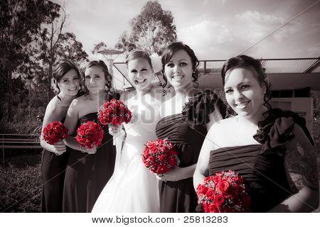 Lineup Of Bride And Bridesmaides