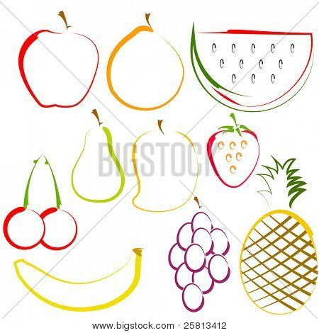 illustration of different colorful fruits in line art