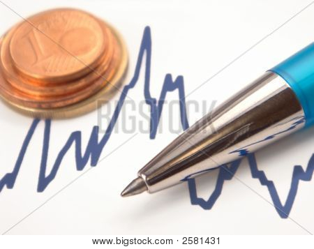 Graph With Pen And Euro Coins