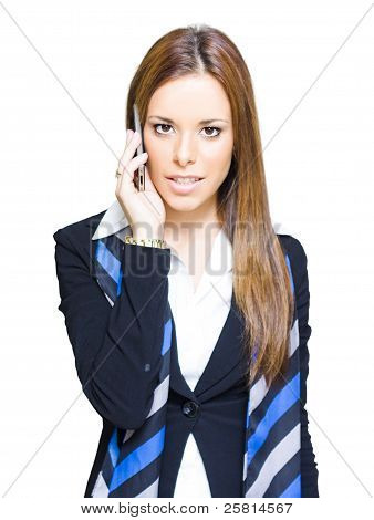 Attractive Confident Business Woman On Smart Mobile Phone