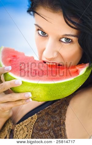 Young Female Biting Into Juicy Pink Watermelon