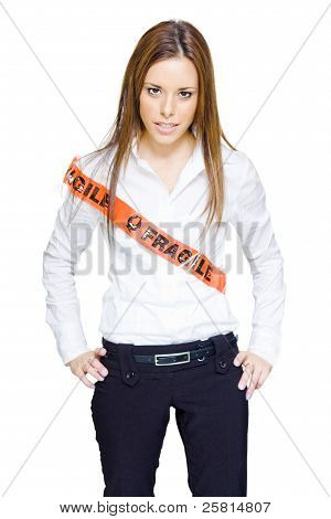 Frustrated Business Woman Wearing Fragile Tape
