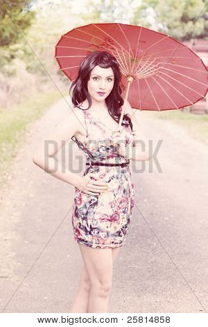 Lady With Red Parasol
