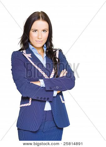 Isolated Confident Female Business Person On White