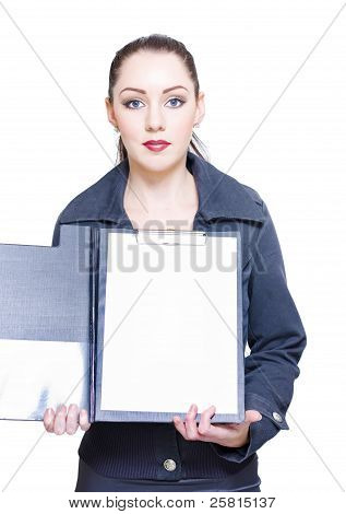 Isolated Business Woman Opening Clipboard Survey