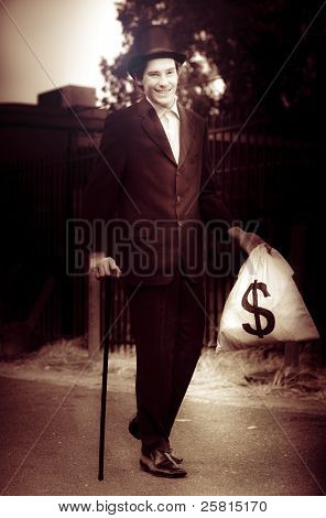 Man Walking The Streets Of Wealth And Prosperity