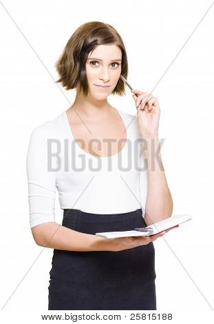 Female Pa Penning Down Work Schedule In Diary