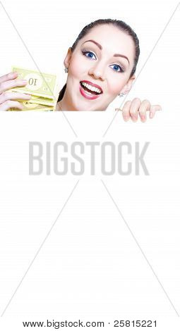 Excited Female Retail Shopper Holding Money
