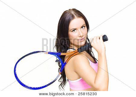 Sport Fitness Woman Holding Tennis Racket