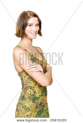 Beautiful Young Woman Smiling In Casual Dress
