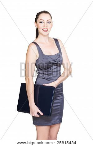 Isolated Smiling Business Woman Carrying Laptop