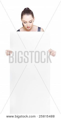 Adorable Business Girl Looking Down At Blank Card
