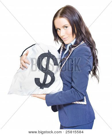 Successful Business Woman Holding Bags Of Money