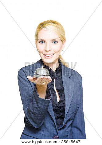 Happy Business Woman Holding Service Bell