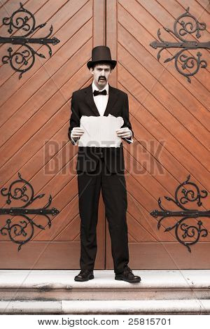 Vintage Man Holding Sign