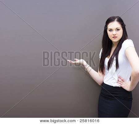 Business Person Displaying Ad Copyspace