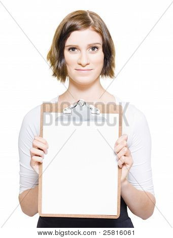 Business Woman With Copyspace Clip Board
