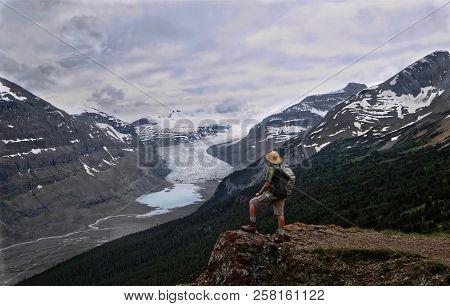 Adventurous Man Hiker On The