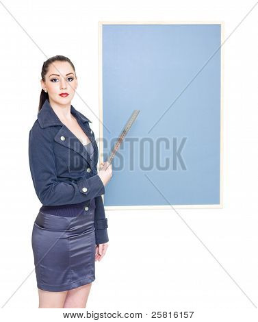 Business Marketing Woman Displaying Text Copyspace