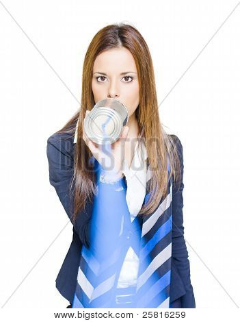 Pretty Business Woman Talking On Tin Can Phone