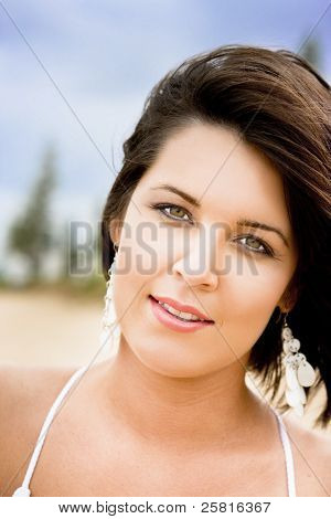 Face Of An Outdoor Beach Woman