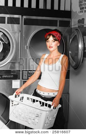 Washing Clothes At Laundry