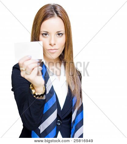 Sales Woman Selling With Business Card Advertising