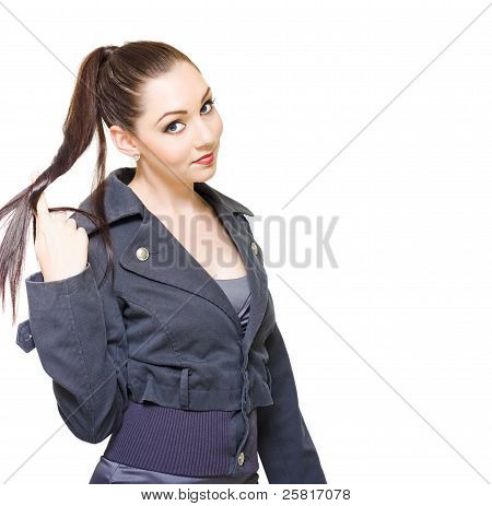 gelangweilt geschäftsfrau unproduktive drehend Haar
