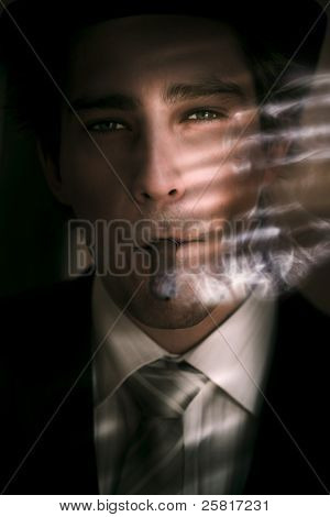 Business Man Smoking Cigar In Victory And Success