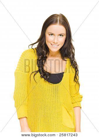 Studio Portrait Of A Bright Happy Girl With Smile