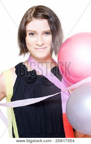 Party Girl Draped In Party Balloons And Streamers