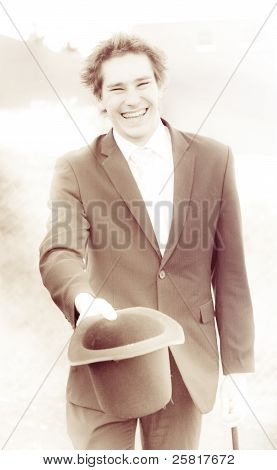 Vintage Business Man Greeting With Hat Off