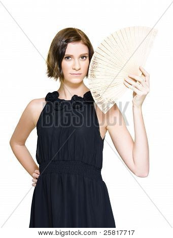Woman In Formal Dress Holding Oriental Fan