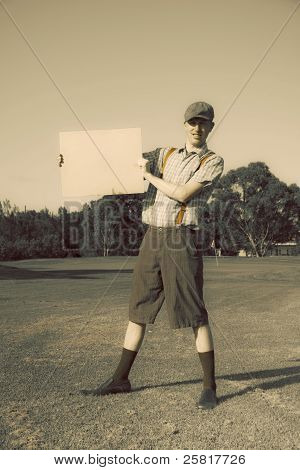 Retro Golf Player Holding Banner