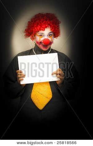 Happy Clown With Sign