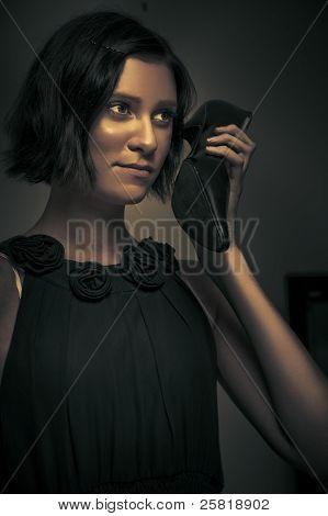 Undercover Secret Agent Using Shoe Phone