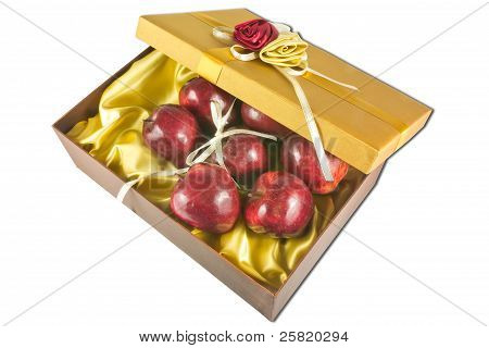 Many Fresh Apples In Give Box
