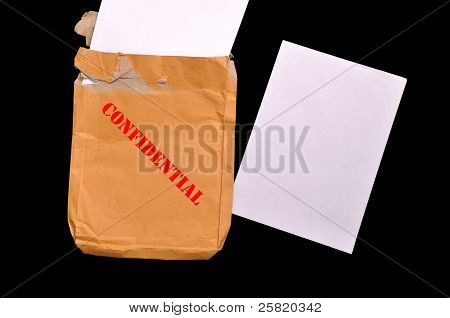 Envelope With Top Secret Stamp And Blank Papers.