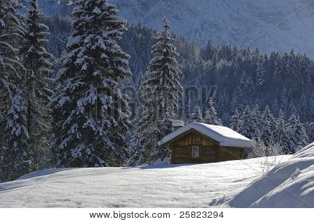 hut in winter